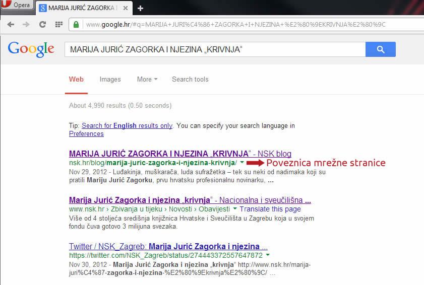Poveznica mrežne stranice - Google