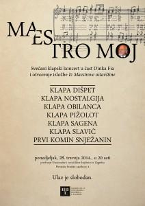 """Plakat za koncert """"Maestro moj"""", organiziran na dan Maestrova rođendana u Nacionalnoj i sveučilišnoj knjižnici u Zagrebu"""